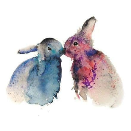 Bunnies in Love - Art Greeting  Card
